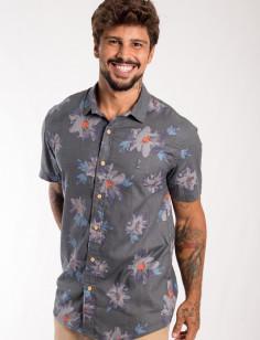 Camisa de Botão Origens Flores Rabisco