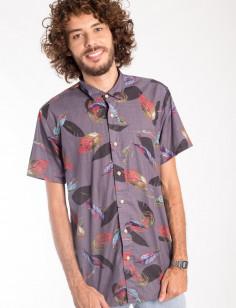 Camisa de Botão Origens Folhas Color